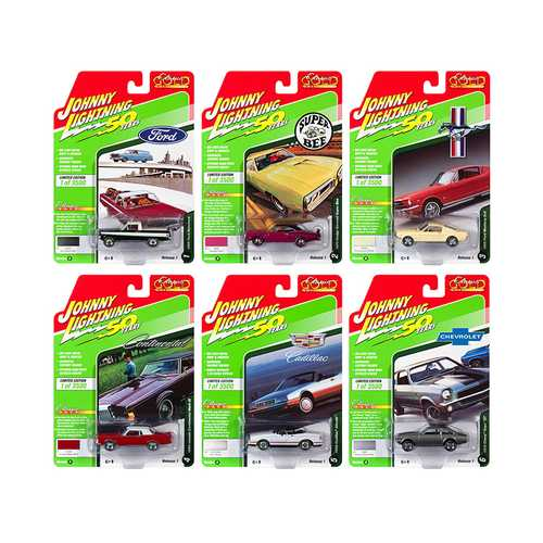 """Classic Gold"" 2019 Release 1, Set B of 6 Cars 1/64 Diecast Models by Johnny Lightning"