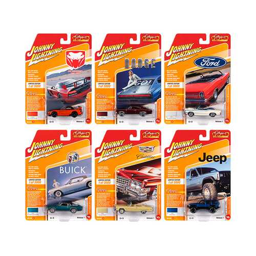 Classic Gold 2020 Release 1, Set A of 6 Cars Limited Edition to 3,000 pieces Worldwide 1/64 Diecast Model Cars by Johnny Lightning
