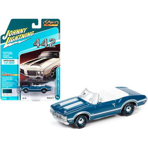 """1970 Oldsmobile Cutlass 442 Convertible Aegean Aqua Blue Metallic with White Stripes and White Interior """"Classic Gold Collection"""" Limited Edition to 3008 pieces Worldwide 1/64 Diecast Model"""