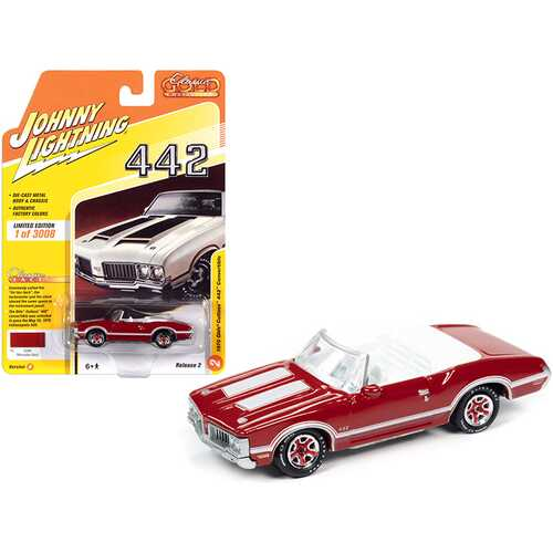 """1970 Oldsmobile Cutlass 442 Convertible Matador Red with White Stripes and White Interior """"Classic Gold Collection"""" Limited Edition to 3008 pieces Worldwide 1/64 Diecast Model Car by Johnny"""