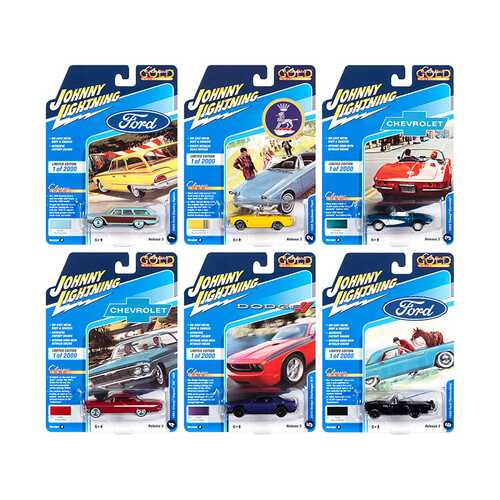 """""""Classic Gold Collection"""" 2020 Set B of 6 Cars Release 3 Limited Edition to 2000 pieces Worldwide 1/64 Diecast Model Cars by Johnny Lightning"""