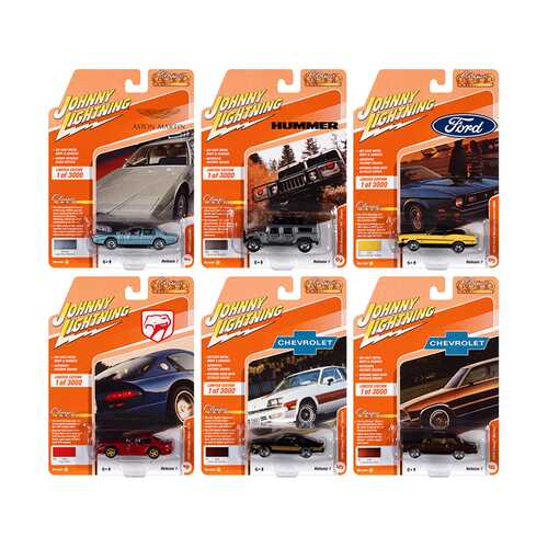 """""""Classic Gold Collection"""" 2021 Set A of 6 Cars Release 1 Limited Edition to 3000 pieces Worldwide 1/64 Diecast Model Cars by Johnny Lightning"""