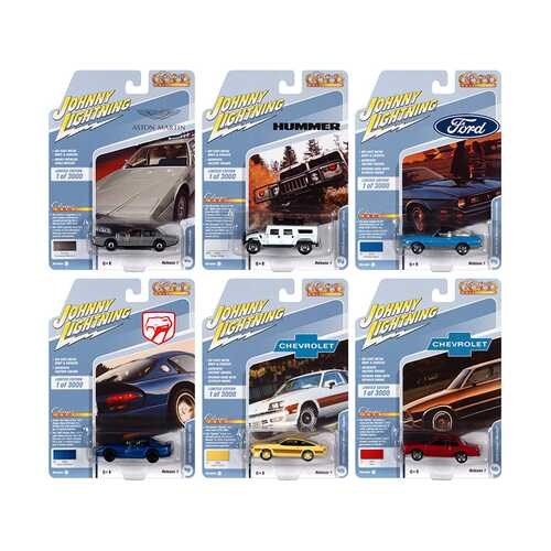 """""""Classic Gold Collection"""" 2021 Set B of 6 Cars Release 1 Limited Edition to 3000 pieces Worldwide 1/64 Diecast Model Cars by Johnny Lightning"""