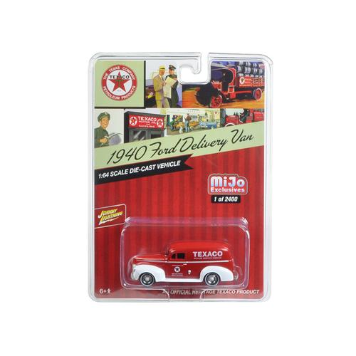 """1940 Ford Delivery Van """"Texaco"""" Red 1/64 Diecast Model Car by Johnny Lightning"""