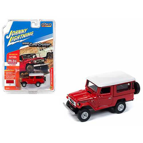 1980 Toyota Land Cruiser Red with White Top Limited Edition to 4,800 pieces Worldwide 1/64 Diecast Model Car by Johnny Lightning