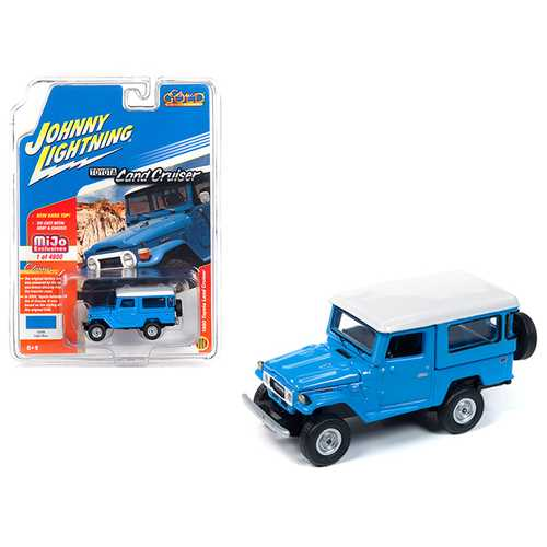1980 Toyota Land Cruiser Light Blue with White Top Limited Edition to 4,800 pieces Worldwide 1/64 Diecast Model Car by Johnny Lightning