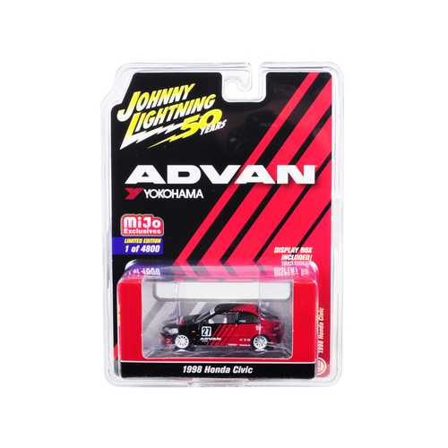 "1998 Honda Civic #27 ADVAN Yokohama ""Johnny Lightning 50th Anniversary"" Limited Edition to 4,800 pieces Worldwide 1/64 Diecast Model Car by Johnny Lightning"