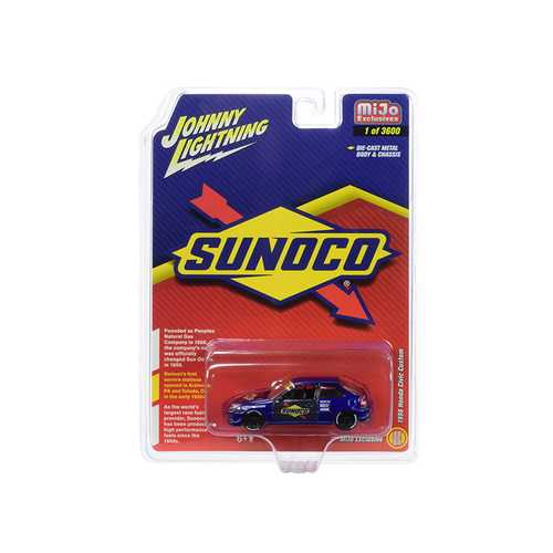 "1998 Honda Civic Custom Dark Blue ""Sunoco"" Limited Edition to 3,600 pieces Worldwide 1/64 Diecast Model Car by Johnny Lightning"