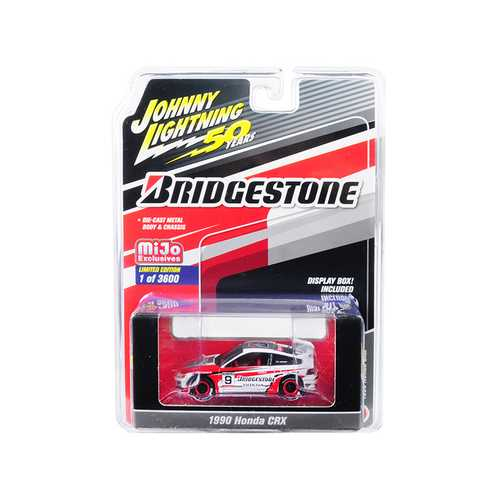 "1990 Honda CRX #9 ""Bridgestone"" ""Johnny Lightning 50th Anniversary"" Limited Edition to 3600 pieces Worldwide 1/64 Diecast Model Car by Johnny Lightning"