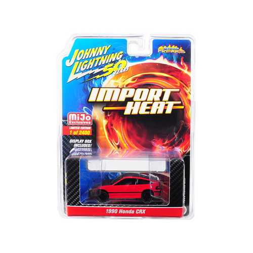 "1990 Honda CRX Red with Black Hood and Top ""Street Freaks"" ""Johnny Lightning 50th Anniversary"" Limited Edition to 2400 pieces Worldwide 1/64 Diecast Model Car by Johnny Lightning"