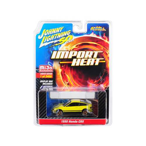 "1990 Honda CRX Yellow ""Street Freaks"" ""Johnny Lightning 50th Anniversary"" Limited Edition to 2400 pieces Worldwide 1/64 Diecast Model Car by Johnny Lightning"