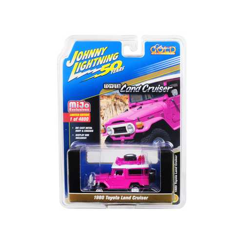 """1980 Toyota Land Cruiser Hot Pink with Accessories """"Johnny Lightning 50th Anniversary"""" Limited Edition to 4,800 pieces Worldwide 1/64 Diecast Model Car by Johnny Lightning"""