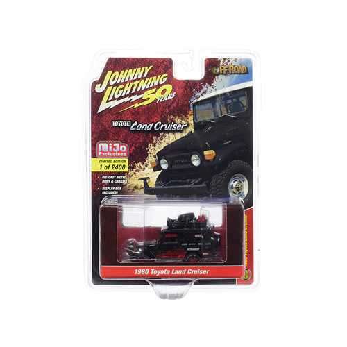 """1980 Toyota Land Cruiser Matt Black and Red with Accessories """"Off-Road"""" """"Johnny Lightning 50th Anniversary"""" Limited Edition to 2,400 pieces Worldwide 1/64 Diecast Model Car by Johnny Ligh"""