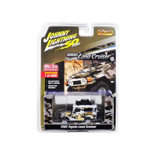 """1980 Toyota Land Cruiser Camouflage with Accessories """"Johnny Lightning 50th Anniversary"""" Limited Edition to 4,800 pieces Worldwide 1/64 Diecast Model Car by Johnny Lightning"""
