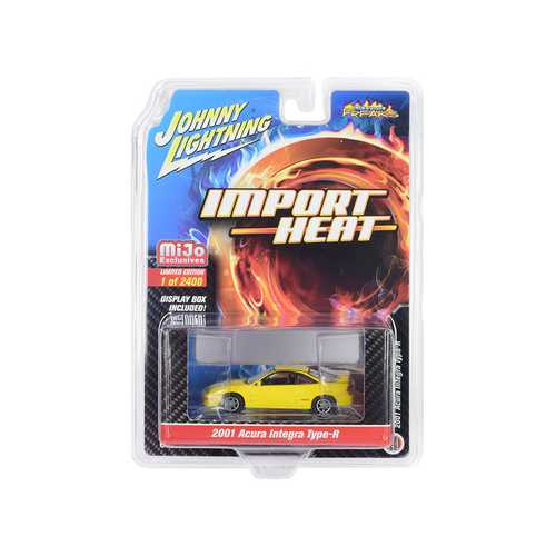 "2001 Acura Integra Type R Yellow ""Import Heat"" Limited Edition to 2400 pieces Worldwide 1/64 Diecast Model Car by Johnny Lightning"