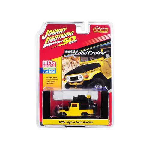 """1980 Toyota Land Cruiser Yellow and Black with Accessories """"Johnny Lightning 50th Anniversary"""" Limited Edition to 3,600 pieces Worldwide 1/64 Diecast Model Car by Johnny Lightning"""