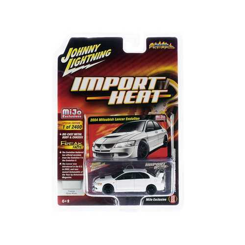 "2004 Mitsubishi Lancer Evolution White with Black Wheels ""Import Heat"" ""Street Freaks"" Series Limited Edition to 2,400 pieces Worldwide 1/64 Diecast Model Car by Johnny Lightning"