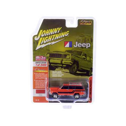 1981 Jeep Wagoneer Custom Orange with Black Stripes Limited Edition to 2,400 pieces Worldwide 1/64 Diecast Model Car by Johnny Lightning