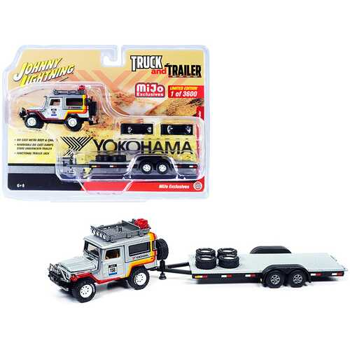 """1980 Toyota Land Cruiser #158 Silver with Stripes and Flatbed Car Trailer """"Yokohama"""" Limited Edition to 3600 pieces Worldwide """"Truck and Trailer"""" Series 1/64 Diecast Model Car by Johnny L"""