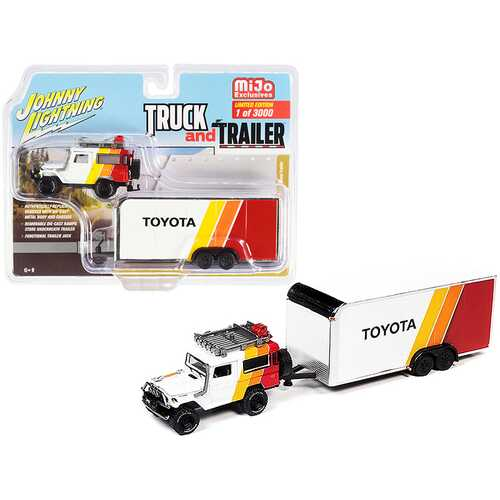 """1980 Toyota Land Cruiser White and Red with Yellow and Orange Stripes and Enclosed Car Trailer """"Toyota"""" Limited Edition to 3000 pieces Worldwide """"Truck and Trailer"""" Series 1/64 Diecast Mo"""