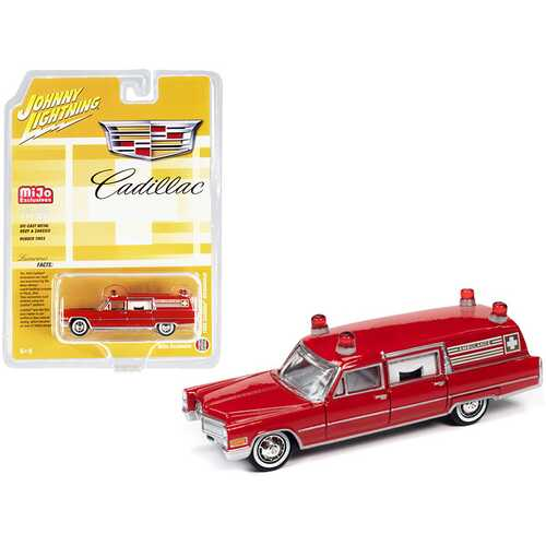"1966 Cadillac Ambulance Red ""Special Edition"" Limited Edition to 3600 pieces Worldwide 1/64 Diecast Model Car by Johnny Lightning"