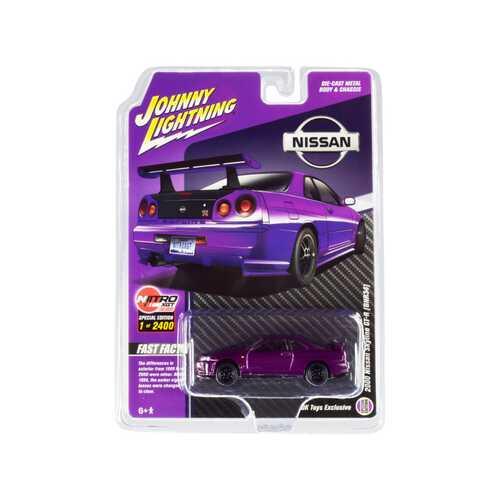 2000 Nissan Skyline GT-R (BNR34) Purple Metallic Limited Edition to 2400 pieces Worldwide 1/64 Diecast Model Car by Johnny Lightning