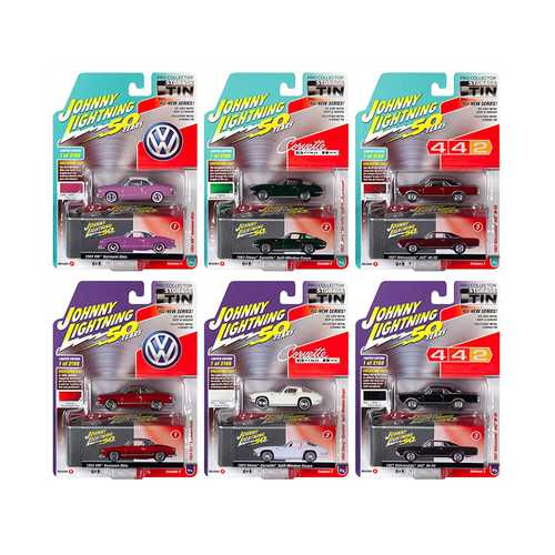 "Johnny Lightning Collector's Tin 2019 Set of 6 Cars Release 2 ""Johnny Lightning 50th Anniversary"" Limited Edition to 2168 pieces Worldwide 1/64 Diecast Models by Johnny Lightning"