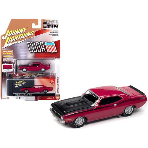 1970 Plymouth AAR Barracuda Moulin Rouge Red with Black Stripes and Hood and Collector Tin Limited Edition to 4540 pieces Worldwide 1/64 Diecast Model Car by Johnny Lightning