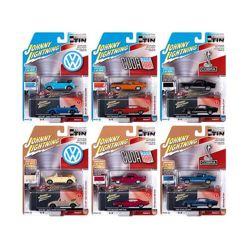 Johnny Lightning Collector's Tin 2020 Set of 6 Cars Release 3 1/64 Diecast Model Cars by Johnny Lightning
