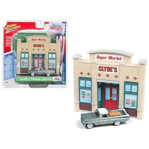 """1959 Chevrolet El Camino Pickup Truck Green and Resin Store Front Facade """"Weekly Manager Specials"""" Diorama 1/64 Diecast Model by Johnny Lightning"""