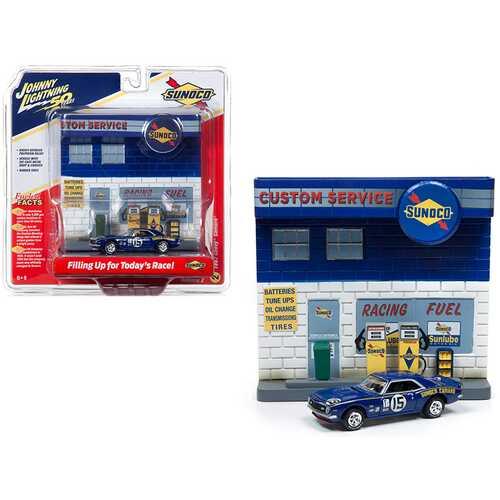 "1967 Chevrolet Camaro #15 ""Sunoco"" with ""Sunoco"" Exterior Service Gas Station Facade Diorama Set ""Johnny Lightning 50th Anniversary"" 1/64 Diecast Model Car by Johnny Lightning"