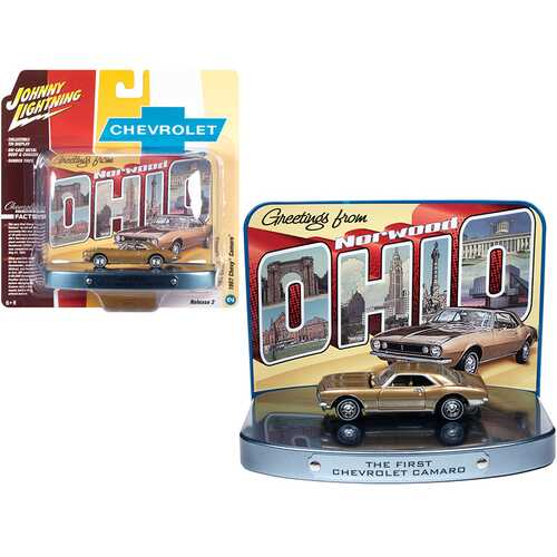 """1967 Chevrolet Camaro Gold with Gold Interior with Collectible Tin Display """"The First Chevrolet Camaro"""" """"Greetings from Norwood - Birth Place of the Camaro"""" 1/64 Diecast Model Car by John"""