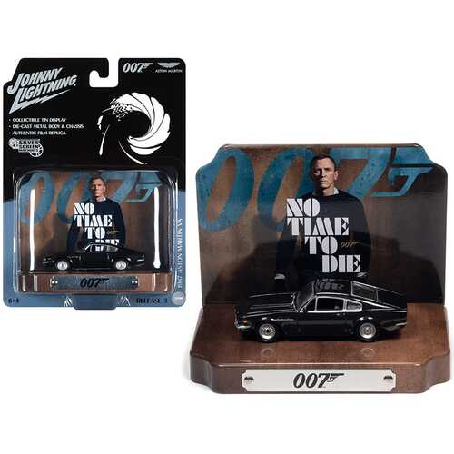 "1987 Aston Martin V8 Cumberland Gray with Collectible Tin Display ""007"" (James Bond) ""No Time to Die"" (2021) Movie (25th in the James Bond Series) 1/64 Diecast Model Car by Johnny Lightni"