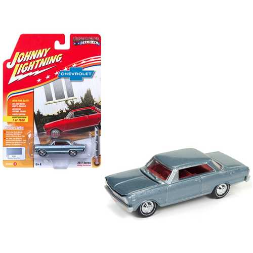 """1965 Chevrolet Nova SS Glacier Gray Poly Limited Edition to 1800pc Worldwide Hobby Exclusive """"Muscle Cars USA"""" 1/64 Diecast Model Car by Johnny Lightning"""