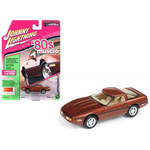"""1988 Chevrolet Corvette Dark Bronze Metallic """"80's Muscle"""" Limited Edition to 3,796 pieces Worldwide 1/64 Diecast Model Car by Johnny Lightning"""