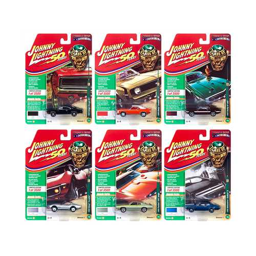 "Muscle Cars USA 2019 Release 1, Set B of 6 Cars ""Class of 1969"" 1/64 Diecast Models by Johnny Lightning"
