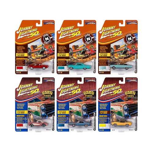"Muscle Cars USA 2019 Set B of 6 Cars Release 2 ""Johnny Lightning 50th Anniversary"" Limited Edition to 4000 pieces Worldwide 1/64 Diecast Model Cars by Johnny Lightning"