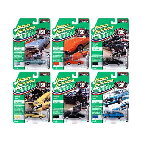 "Muscle Cars USA 2020 Set A of 6 Cars Release 3 ""Muscle Car & Corvette Nationals"" (MCACN) Limited Edition to 2834 pieces Worldwide 1/64 Diecast Model Cars by Johnny Lightning"