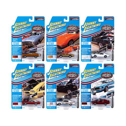 "Muscle Cars USA 2020 Set B of 6 Cars Release 3 ""Muscle Car & Corvette Nationals"" (MCACN) Limited Edition to 2834 pieces Worldwide 1/64 Diecast Model Cars by Johnny Lightning"
