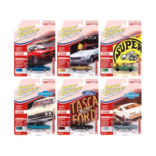Muscle Cars USA 2021 Set A of 6 Cars Release 1 1/64 Diecast Model Cars by Johnny Lightning