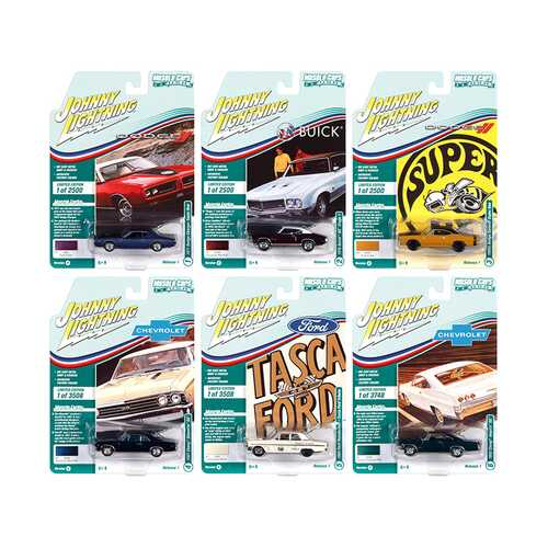 Muscle Cars USA 2021 Set B of 6 Cars Release 1 1/64 Diecast Model Cars by Johnny Lightning