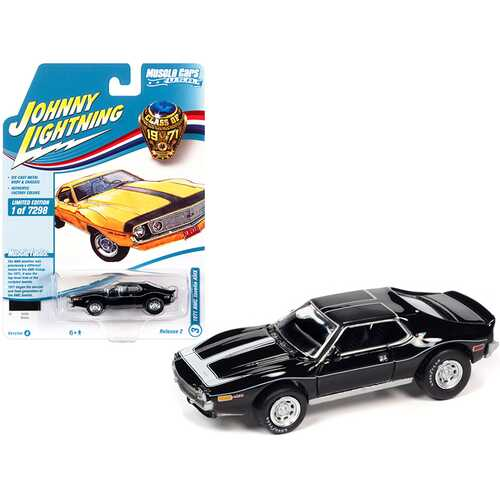 """1971 AMC Javelin AMX Black with White Stripes """"Class of 1971"""" Limited Edition to 7298 pieces Worldwide """"Muscle Cars USA"""" Series 1/64 Diecast Model Car by Johnny Lightning"""