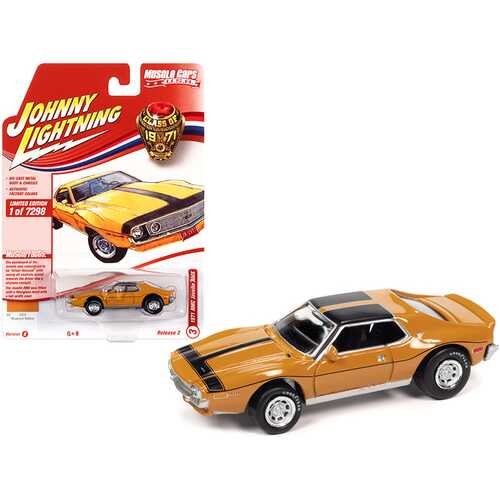 """1971 AMC Javelin AMX Mustard Yellow with Black Stripes """"Class of 1971"""" Limited Edition to 7298 pieces Worldwide """"Muscle Cars USA"""" Series 1/64 Diecast Model Car by Johnny Lightning"""