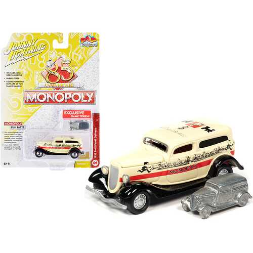 """1933 Ford Panel Delivery Truck Yellow with Red Stripe and Game Token """"Monopoly 85th Anniversary"""" """"Pop Culture"""" Series 1/64 Diecast Model Car by Johnny Lightning"""