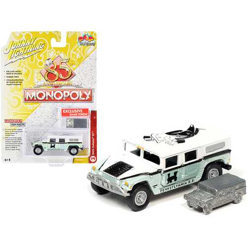 """2004 Hummer H1 and Game Token """"Monopoly 85th Anniversary"""" """"Pop Culture"""" Series 1/64 Diecast Model Car by Johnny Lightning"""