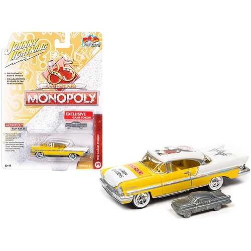"""1957 Lincoln Premiere Saturn Gold Yellow and White """"Marvin Gardens"""" with Game Token """"Monopoly 85th Anniversary"""" """"Pop Culture"""" Series 1/64 Diecast Model Car by Johnny Lightning"""