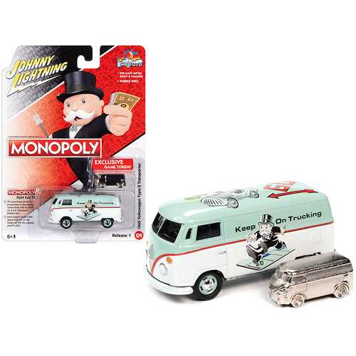 """1965 Volkswagen Type 2 Transporter Light Green and White with Game Token """"Monopoly"""" """"Pop Culture"""" Series 1/64 Diecast Model Car by Johnny Lightning"""