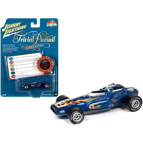 """Johnny Lightning Special Blue Metallic with Poker Chip (Collector Token) and Game Card """"Trivial Pursuit"""" """"Pop Culture"""" Series 1/64 Diecast Model Car by Johnny Lightning"""