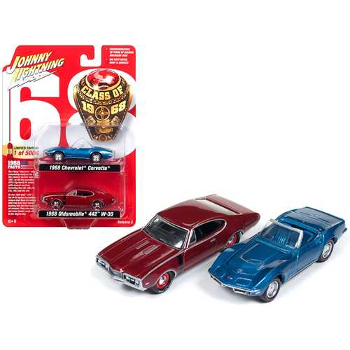 "1968 Chevrolet Corvette and 1968 Oldsmobile 442 ""Class of 1968"" Set of 2 Limited Edition to 5004 pieces Worldwide 1/64 Diecast Model Cars by Johnny Lightning"