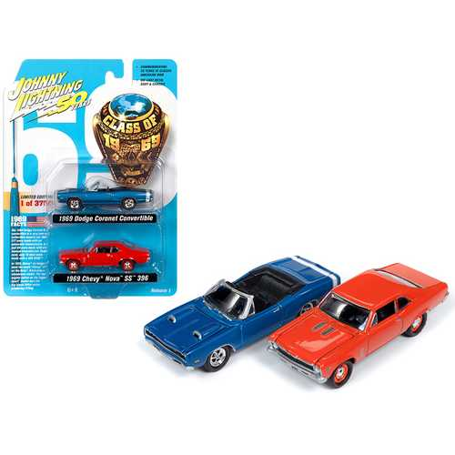 "1969 Dodge Coronet R/T Convertible Metallic Blue and 1969 Chevrolet Nova SS 396 Hugger Orange Set of 2 pieces ""Class of 1969"" Limited Edition to 3,750 pieces Worldwide 1/64 Diecast Model Cars by Johnny Lightning"